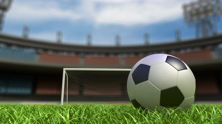 jogador de futebol : Football background, soccer ball on the grass at stadium. 3d animation Stock Footage
