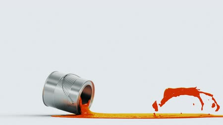 boyalar : falling paint can, made in slow motion 3d animation with an alpha matte Stok Video