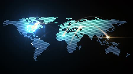 dünya çapında : world map animation, seamless loop Stok Video