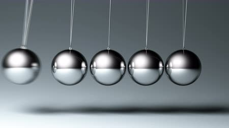 баланс : 4K Newtons cradle. seamless looped 3d animation, two views Стоковые видеозаписи