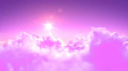 melek : Flying over the magic pink clouds. beautiful 3d animation, seamless loop. 4K