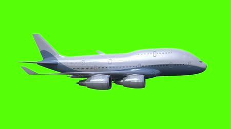 zöld : The airplane flies on green background. four 3d animations, last three looped