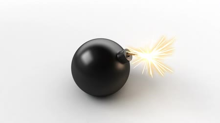 toon : exploding bomb with a green screen,  3d animation Stock Footage