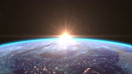 şafak : Highly Detailed Sunrise over the Earth, beautiful 3d animation. Stok Video