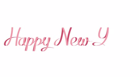 boyalar : Happy New Year, beautiful slow writing on white background with an alpha matte