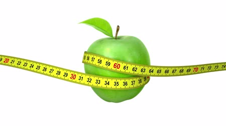 лента : Apple with a Measuring Tape. four options, 3d animation with an alpha matte, full HD 1080