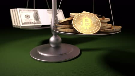 richness : Bitcoins and Gold Ingots on the Scales, 3d animation, 4K. See more Bitcoin concepts in my portfolio Stock Footage