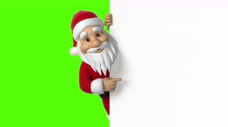 belirtmek : Santa Claus points to the screen, seamless looping 3d animation. 4K Stok Video