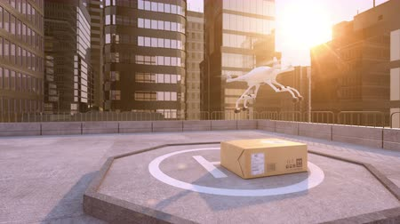 levelezési : Drone takes away a parcel on a building roof. Beautiful conceptual 3d animation, 4K Stock mozgókép
