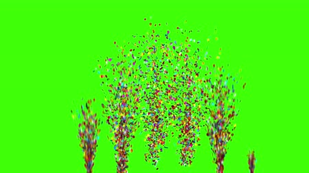 kraker : Confetti Party Popper Explosions on a Green Background. 3d animation, 4K.