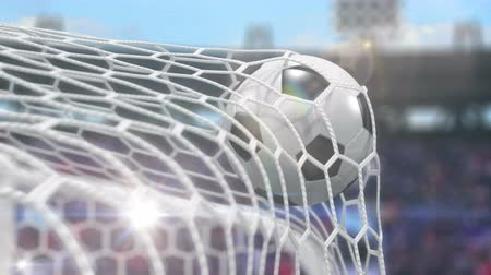 penas : Soccer Ball Flies into the Goal with Camera Flashes. Beautiful 3d Animation in Slow Motion, 4K.