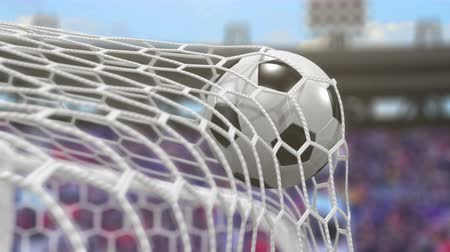 büntetés : Soccer Ball Flies into the Goal. Beautiful 3d Animation in Slow Motion, 4K.