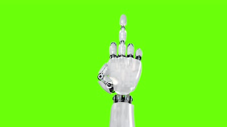 transação : Robot Hand Shows Middle Finger Fuck You on a Green Background. Two options, Beautiful 3d animation. Stock Footage