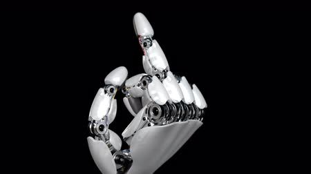 transação : Robot Hand Shows Middle Finger Fuck You. Beautiful 3d animation. 4K