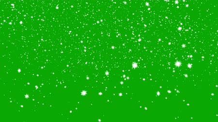 zöld : Snow Falls on a Green Background. Beautiful Seamless Looping 3d Animation. 4K Stock mozgókép