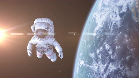 aeroespaço : Astronaut in Space. 3d animation, 4K.