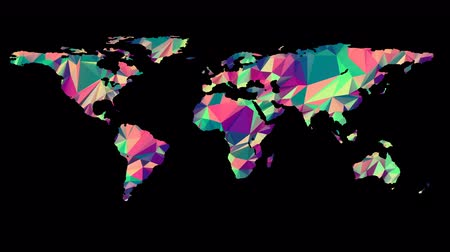 üçgen : Polygonal Multicolored Earth Map. Seamless Looped Animation with Alpha-Matte. 4K