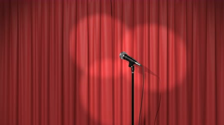 veludo : Beautiful Red Curtain with Spotlights and a Microphone on Stage, Seamless Looped 3d Animation. 4K