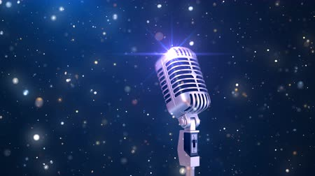 караоке : Beautiful Karaoke Background with a Retro Microphone and Magic Particles, Seamless Looped 3d Animation. 4K