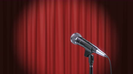 слепой : Microphone and Red Curtains Background, Beautiful Seamless Looped 3d Animation. 4K