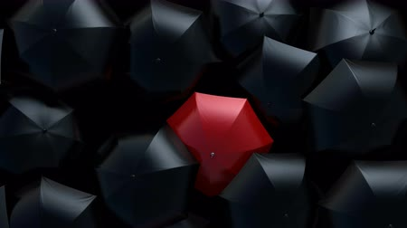 hdtv : Red Umbrella Sneaks Through Flow of Black Umbrellas, Leader in the Crowd Concept. Beautiful 3d Animation, 4K Ultra HD 3840x2160