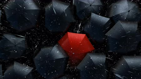 nemli : Red Umbrella Wades Through a Flow of Black Umbrellas. Leader in the Crowd Concept, Version with a Lightning. Beautiful 3d Animation, 4K Stok Video