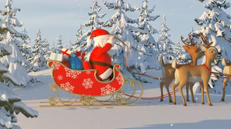 geyik : Santa Claus with Reindeer Goes on the Way. Beautiful 3d Animation with a Merry Christmas Text on a Green Background. Full HD 1080
