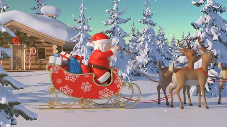 geyik : Santa Claus with Reindeer Goes on the Way from House of Santa in Lapland. Beautiful 3d Animation with Northern Lights and Merry Christmas Text on a Green, So You Can Add It Anywhere and Whenever