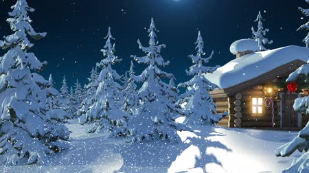 sob : Santa Claus with Reindeer Goes on the Way from House of Santa and Flies Against the Moon. Beautiful 3d Animation with Writing Merry Christmas and Happy New Year Texts on a Green, Full HD