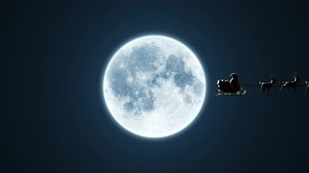 geyik : Santa Claus on a Reindeer Sleigh Flying on the Background of the Moon, Beautiful 3d Animation, Chroma Key Version Included. 4k