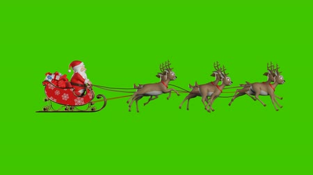 geyik : Santa Claus on a Reindeer Sleigh Flying on a Green Background, Two Beautiful 3d Animations, Second with Contour Light for the Night Flight. Seamless Looping, 4k Stok Video