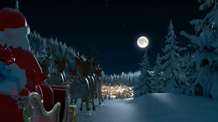geyik : Santa Claus Arrives in a Village in the Forest. Beautiful Merry Christmas 3d Animation, Full HD Stok Video
