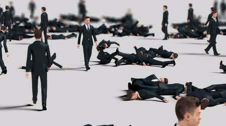 hdtv : Crowd of Businessmen Collide with Each Other and Fall, Funny 3d Animation Stock Footage