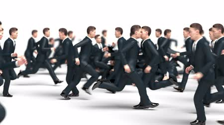 hdtv : Businessmen Run Towards Each Other Collide and Fall, Funny 3d Animation Stock Footage