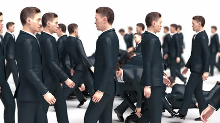 hdtv : Businessmen Go Towards Each Other Collide and Fall, Funny 3d Animation