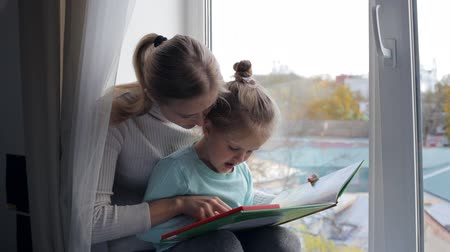 alfabetização : Young mother with daughter reading a book near the window