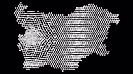 bułgaria : Animated grid of hexagons covering the shape and area of ??Bulgaria around its capital Sofia