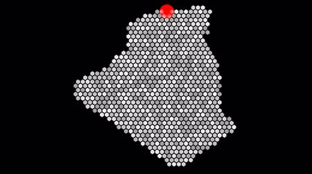algeria : Animated hexagons make up the shape of Algeria with the capital Algiers as overlay animation Stock Footage