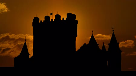 segovia : The Alcazar of Segovia or Segovia Castle is a stone fortress located in the old city of Segovia Spain.   Stock Footage
