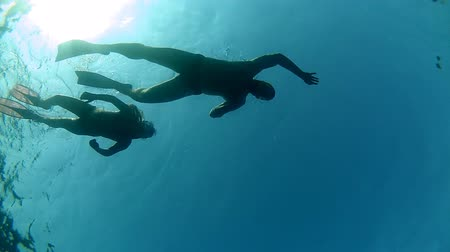 mergulhador : Father and doughter diving.