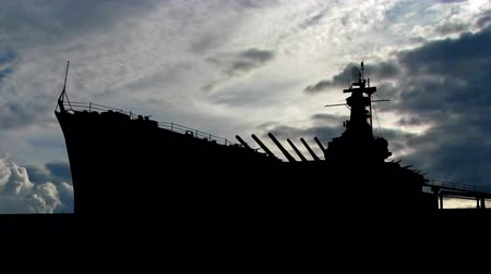 donanma : Battleship during clouds. Stok Video