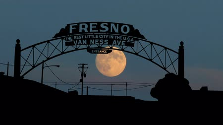 центральный : Fresno Van Ness Avenue sign during the moonrise.