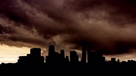 climate : Los Angeles skyline with storm clouds. Stock Footage