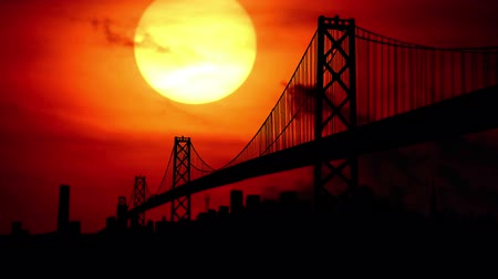 dark bay : San Francisco bay bridge during sunset. Stock Footage