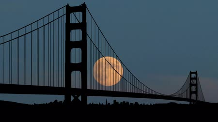 the suspension bridge : Golden Gate bridge during moonrise.