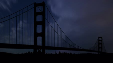 dark bay : Golden Gate bridge during the night storm. Stock Footage