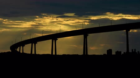 pomost : Coronado Bay Bridge during sunset. Wideo