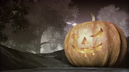 Halloween Evil Pumpkin in the Dark Forest 4K