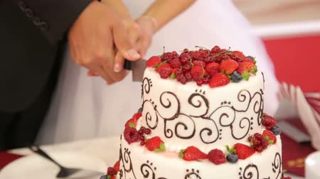 wedding cake : The newlyweds cut the cake garnished with fresh berries