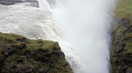 gullfoss : Panorama of gullfoss waterfall. Beautiful nature of Iceland Stock Footage